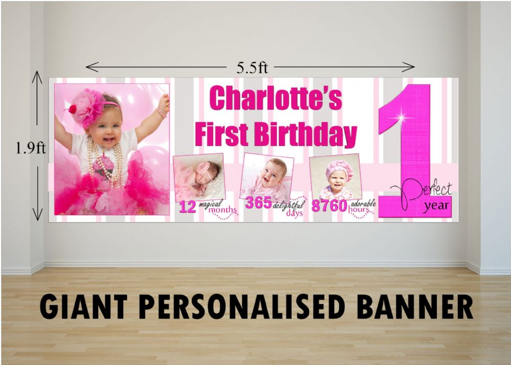 Personalised GIANT Large Girls 1st First Happy Birthday
